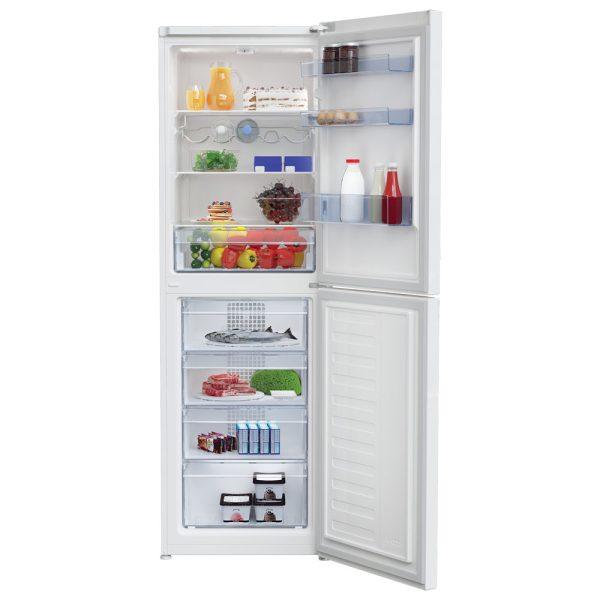 Beko Fridge Freezer with the doors open and food inside