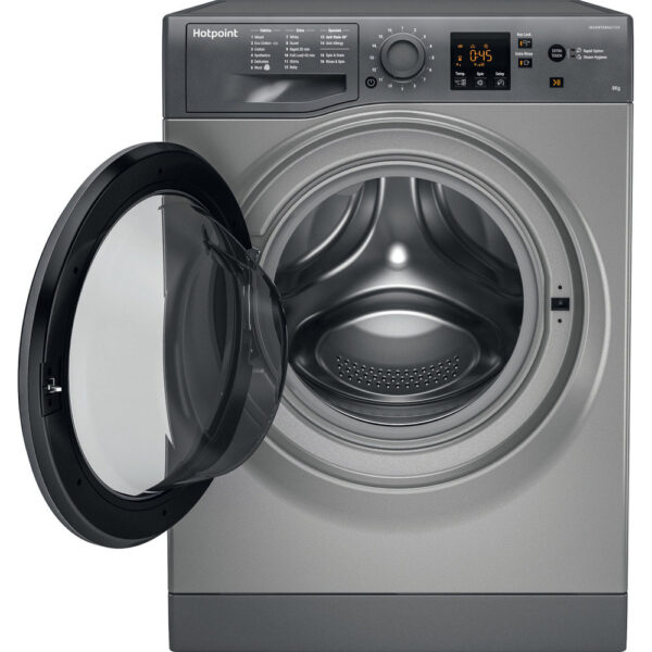 Hotpoint Washing Machine Graphite with the door open
