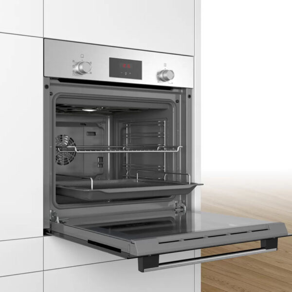 Bosch Single Oven with the door open and in a unit