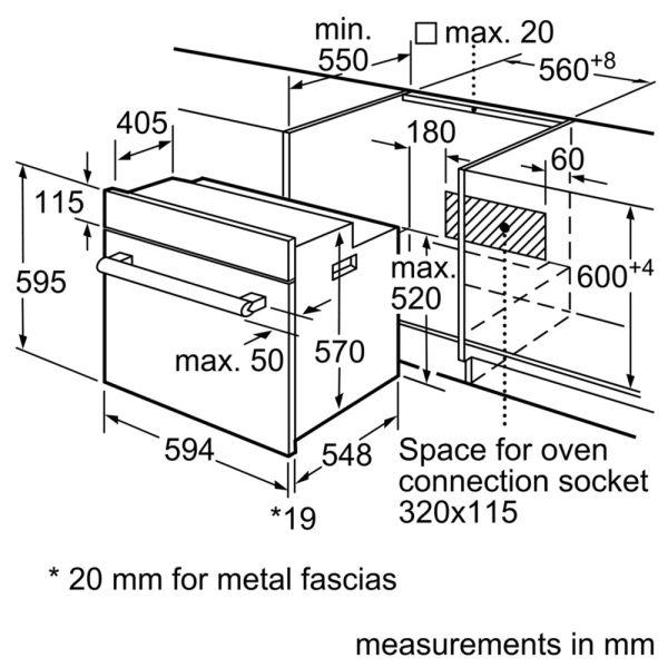 Bosch Single Oven dimensions