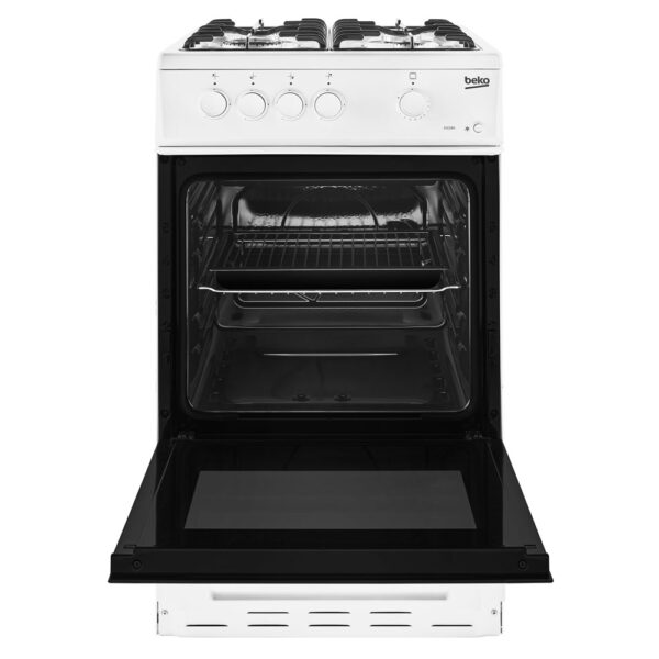 Beko free standing gas cooker with the door open