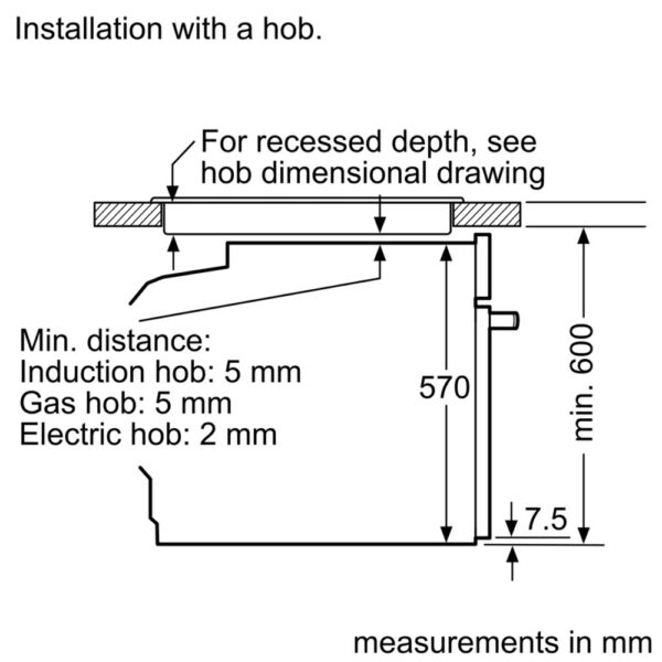 Bosch Single Oven dimensions with hob