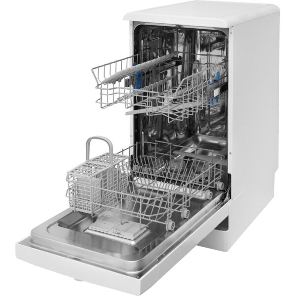 Indesit Slimline Dishwasher with the baskets pulled out