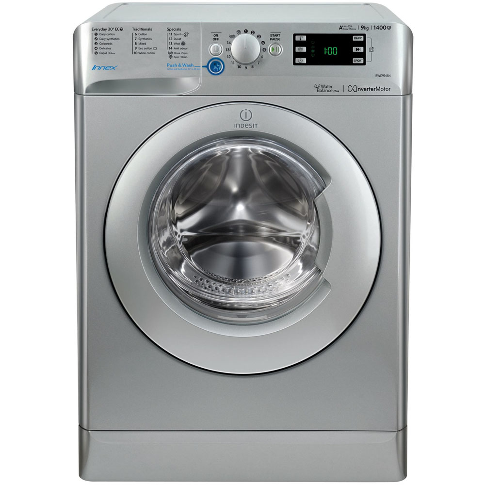 Indesit Washing Machine 9kg/1400rpm - Silver