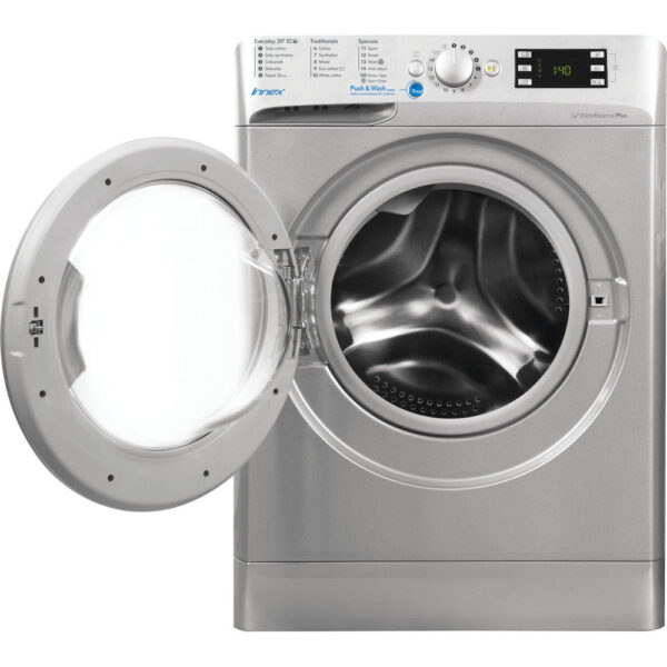 Indeesit Washing Machine - Silver with the door open