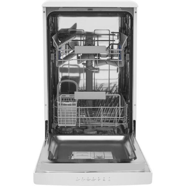 Indesit Slimline Dishwasher with the door open