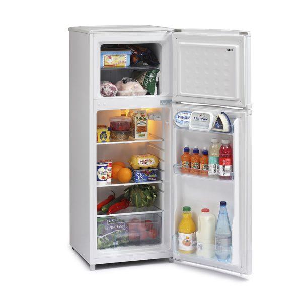 Iceking Top Mount Fridge Freezer with food inside