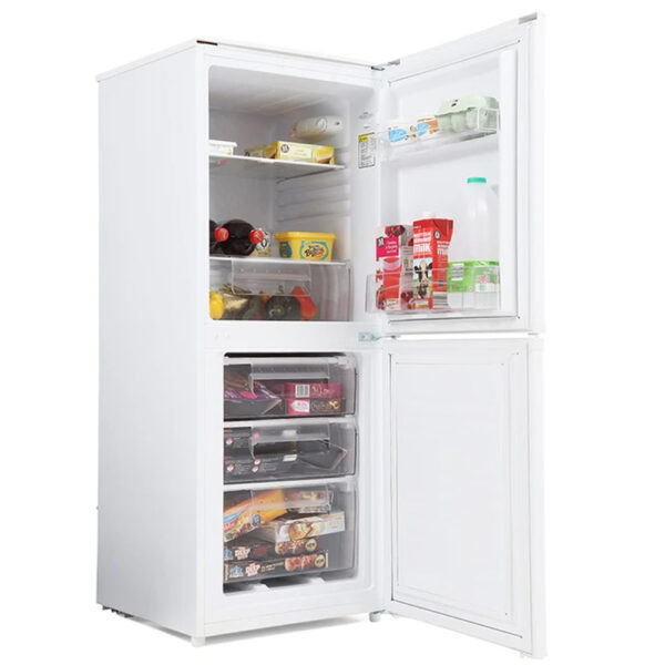 Candy Fridge Freezer with the doors open and food inside