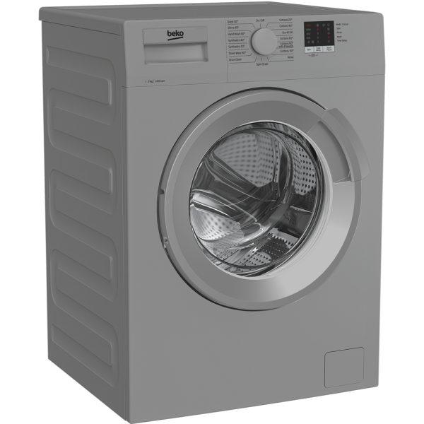 Beko washing machine silver on an angle