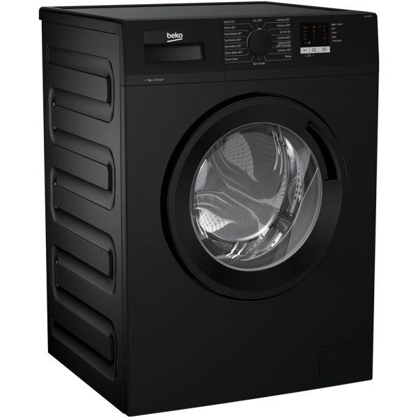 Beko Washing Machine In Black on an angle