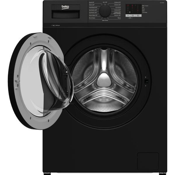 Beko Washing Machine In Black with the door open