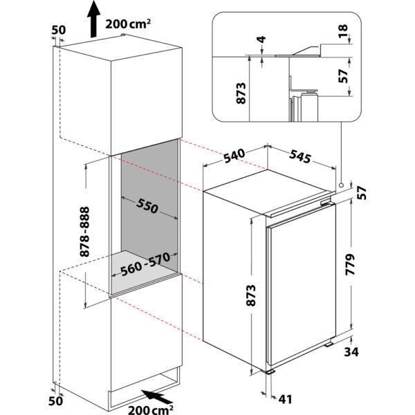 Indesit In Column Fridge dimensions