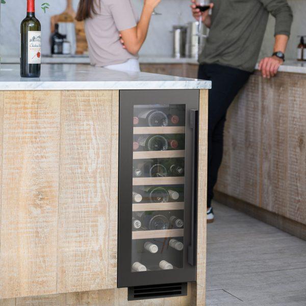 Caple 19 bottle wine cabinet - gun metal grey