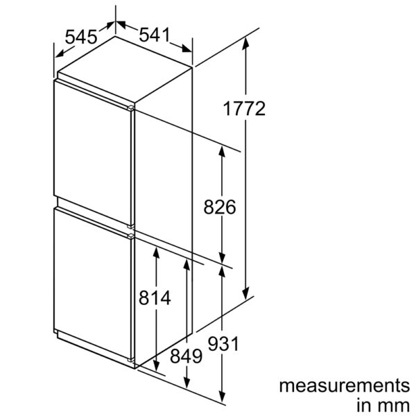 Neff Integrated Fridge Freezer Line Drawing