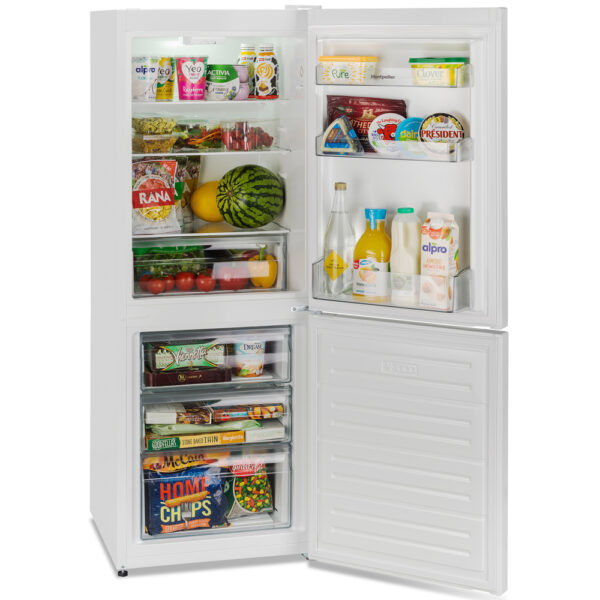Montpellier Fridge Freezer with the doors open and food inside