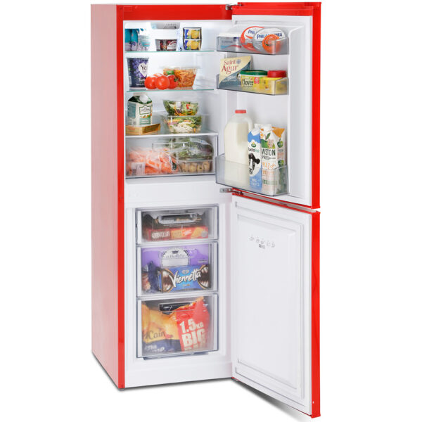 Montpellier Retro Fridge Freezer - with the doors open and food inside