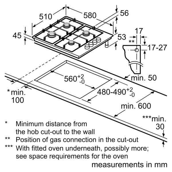 Bosch Gas Hob - line drawing