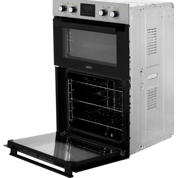 Zanussi Double Oven on a side angle with the main oven door open