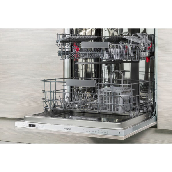 Whirlpool Integrated Dishwasher - with the door open and baskets pulled out