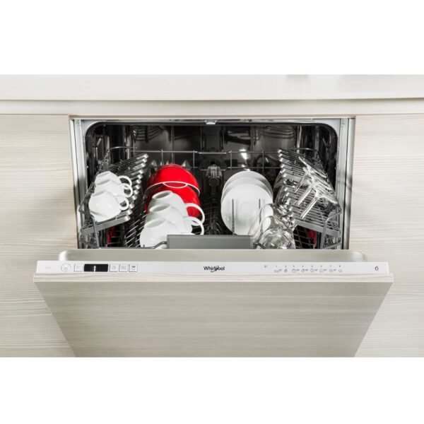 Whirlpool Integrated Dishwasher - with the door open and top basket pulled out